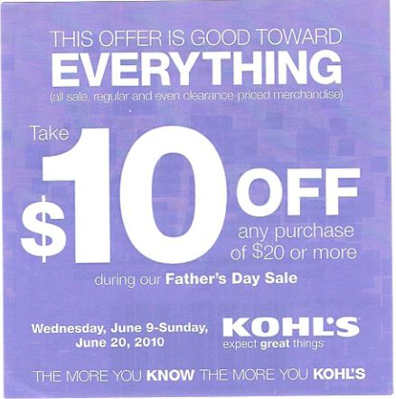 Kohls: 10 Off 20 Coupon, Valid Till June 20th Fathers Day